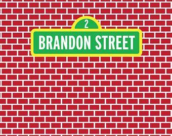 DIGITAL Custom Sesame Street Birthday Party Backdrop