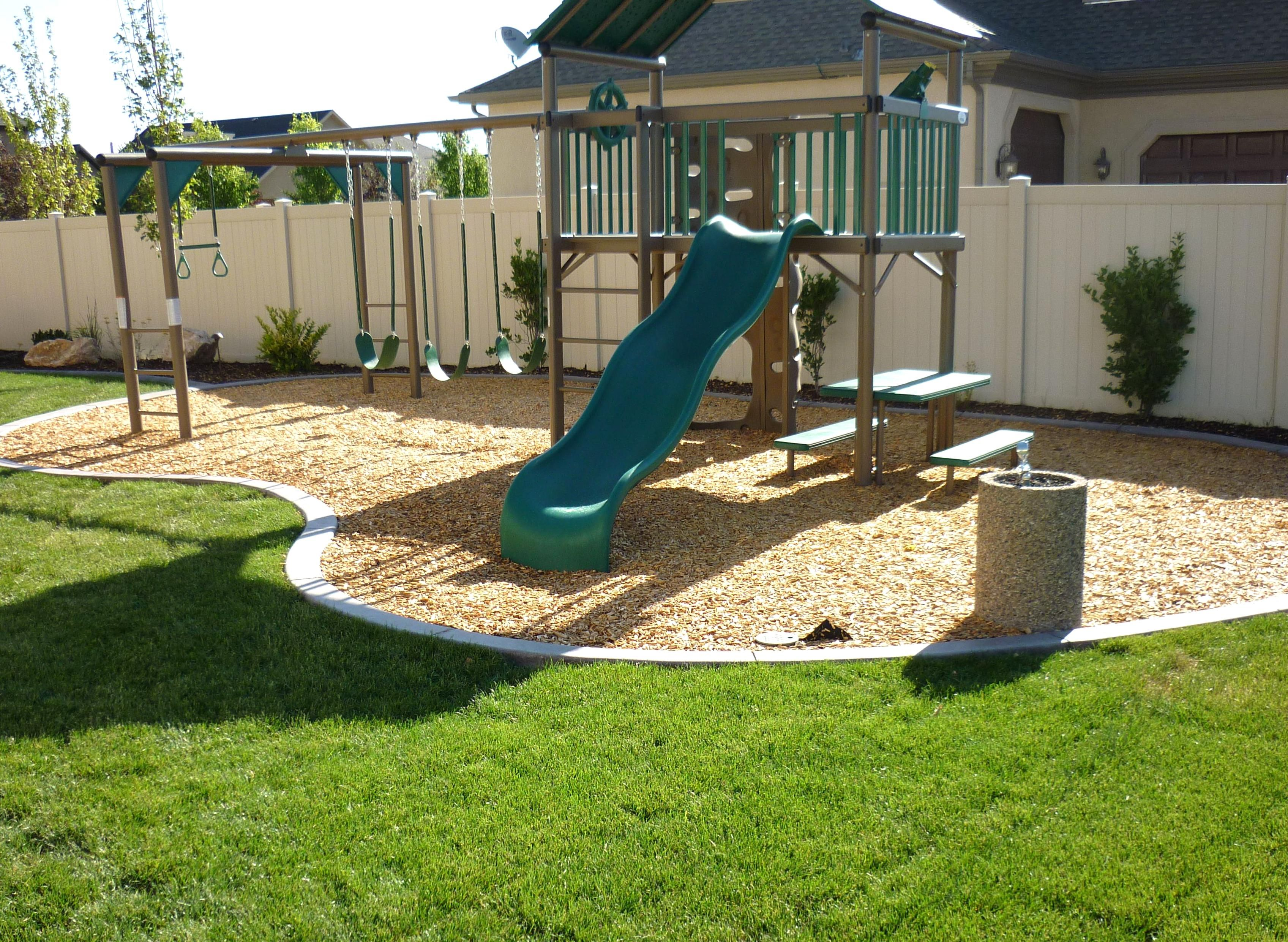 Small Backyard Landscape Layouts With Playground Landscapers In Salt Lake City And Utah Cou Playground Backyard Landscaping Diy Playground Backyard Playground