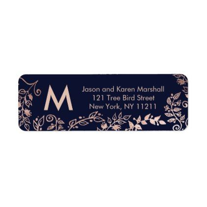 navy blue rose gold floral address labels chic pinterest blue