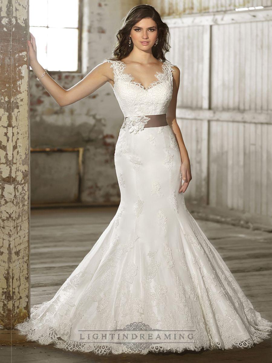 Straps Vneck Trumpet Lace Wedding Dresses with Deep V