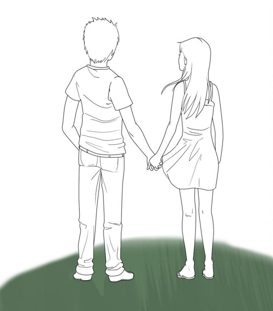 Walking Drawing At Getdrawings Com Girls Holding Hands Boy And Girl Drawing Holding Hands Drawing
