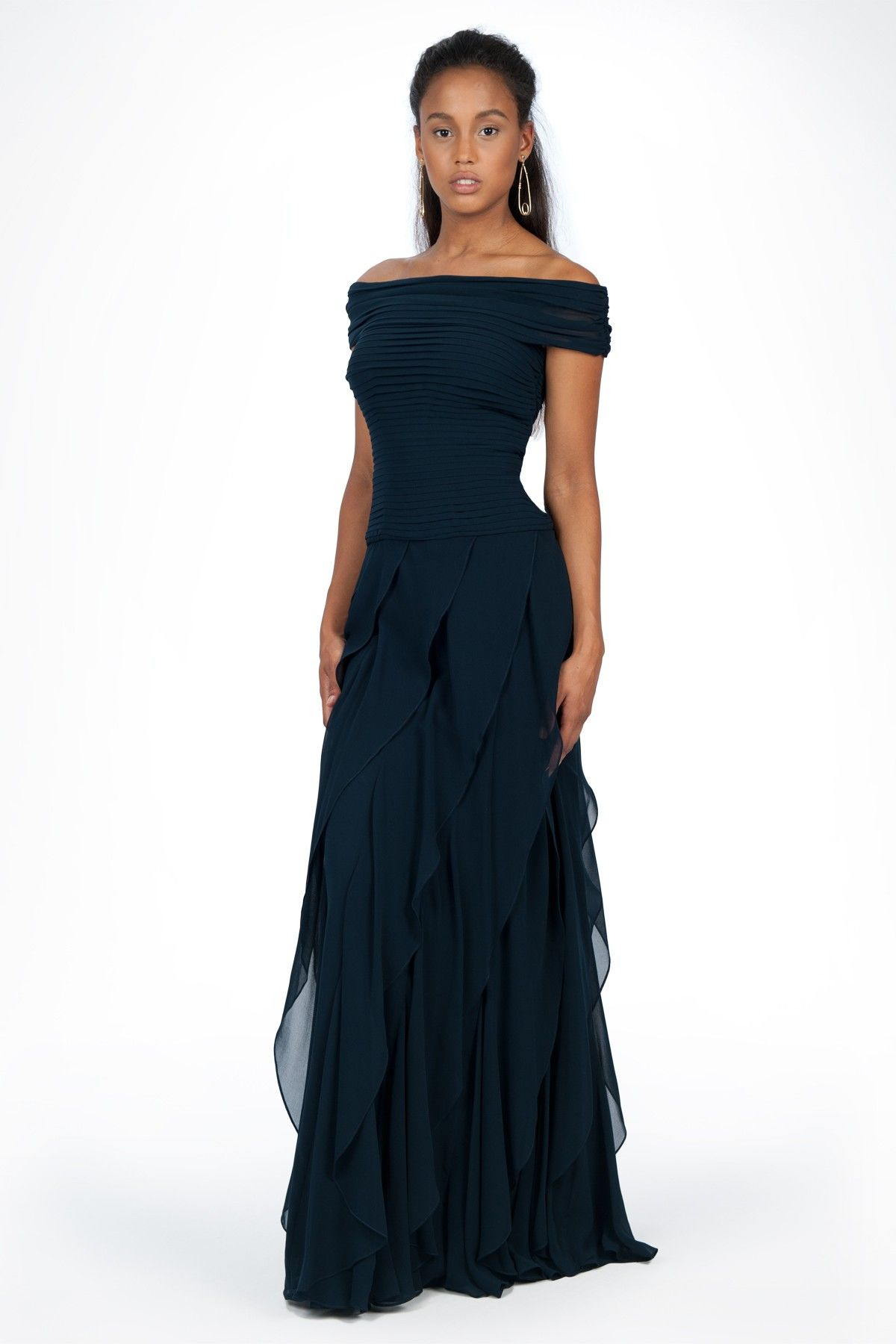 Chiffon Off Shoulder Flounce Gown in Navy - Evening Gowns - Evening ...