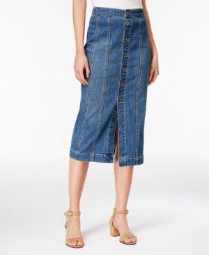 e2fc0b5d3eff Style   Co Button-Front Denim Skirt