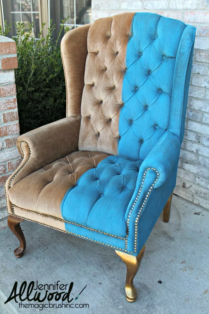 Paint Velvet Fabric  A Chair Makeover   The Magic Brush Inc  is part of Furniture - Paint velvet fabric using chalk type paint + FAB fabric paint  Its a dying process that keeps the fabric soft and still feels like velvet!