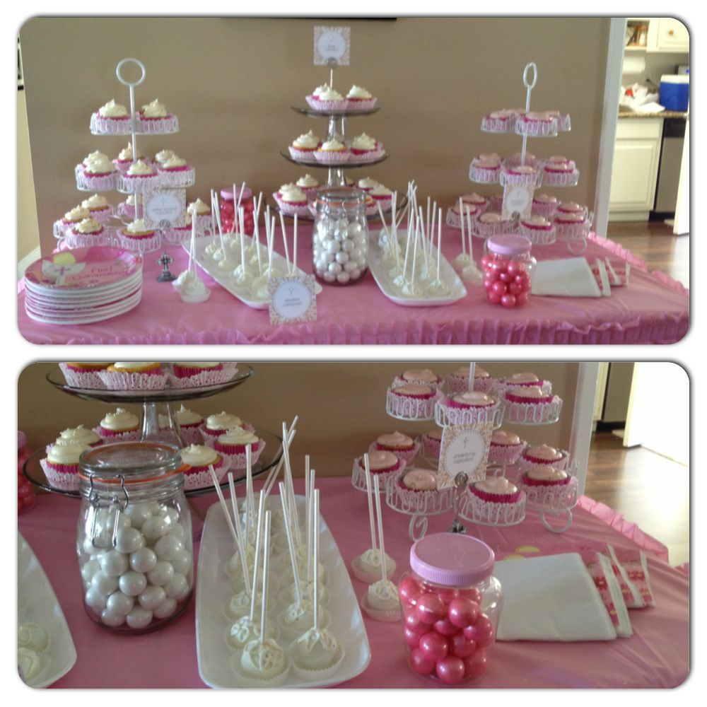 Candy Table For A First Communion Holy Communion Party First Communion Decorations Candy Table