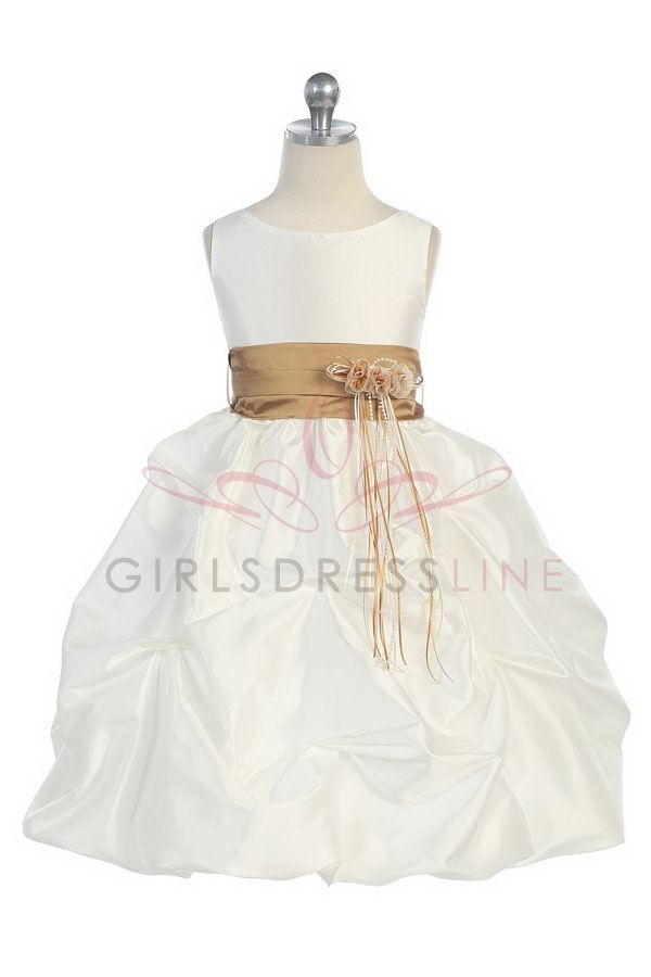 Taupe Sleeveless Taffeta Pick Up Bubble Hem Flower Girl Dress G2740TP $42.95 and 54.95 on www.GirlsDressLine.Com