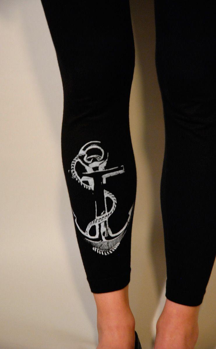 637962fba03b7 Supermarket: Anchor Leggings White on Black from Branch Handmade ...