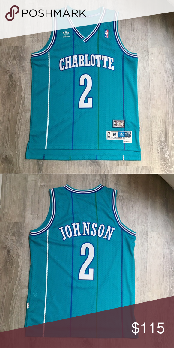 Adidas Charlotte Hornets Larry Johnson NBA Jersey Men s Medium. Never worn.  New without tags 0380291be