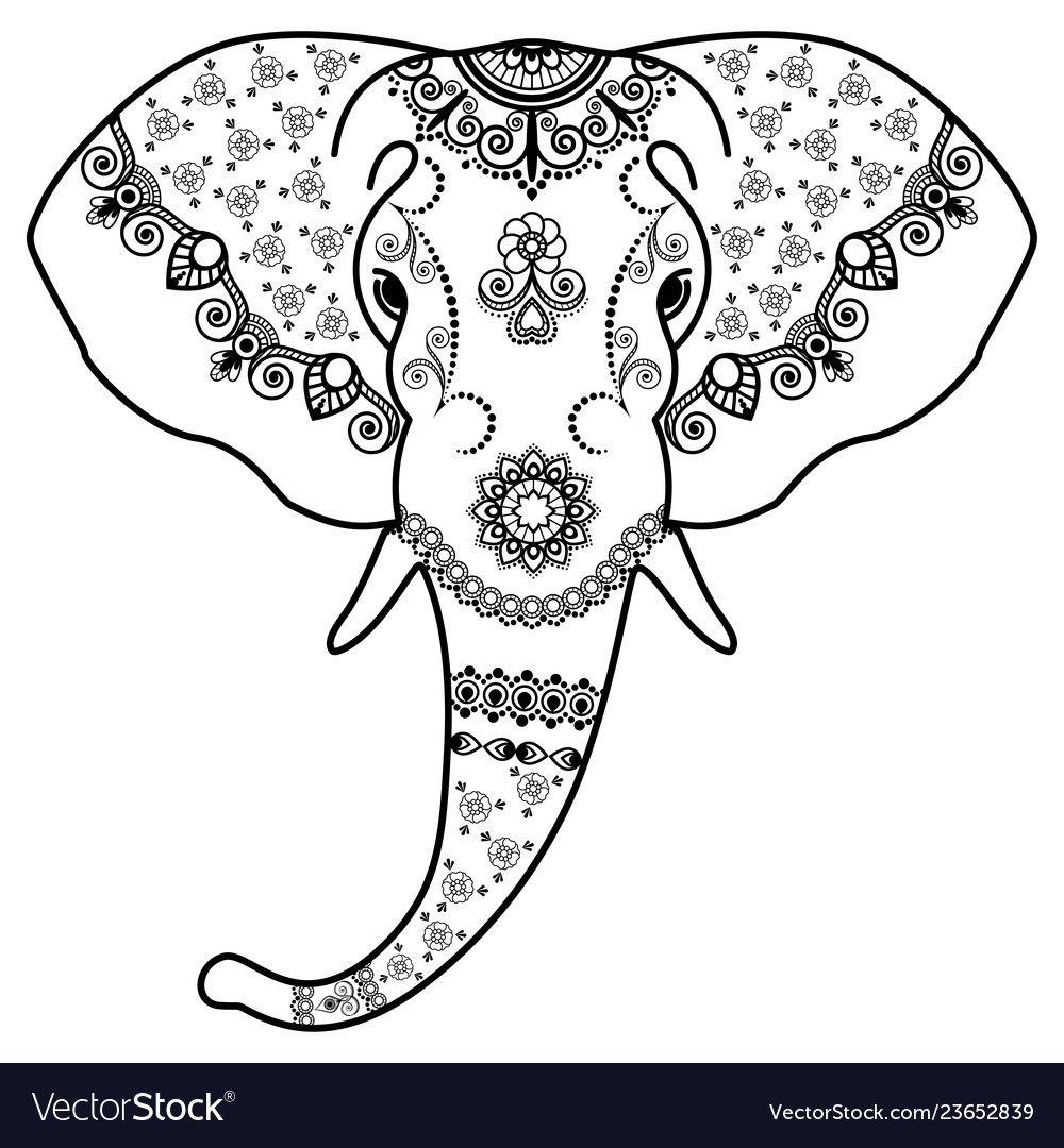 Elephant Coloring Head