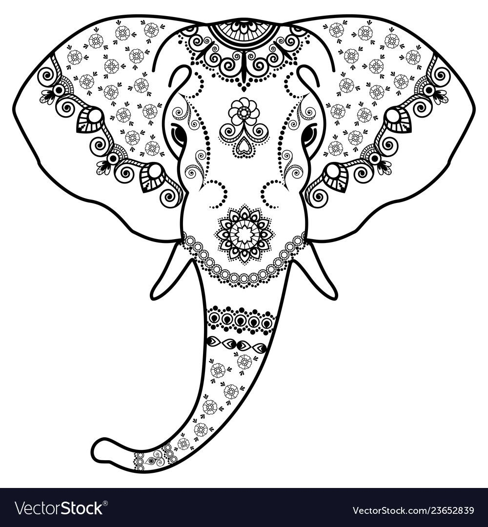 Black And White Elephants Head In Mehndi Indian Vector Image On