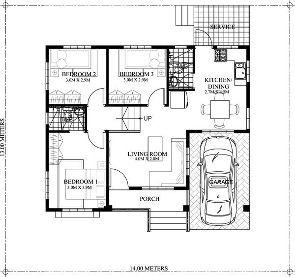 One Story Small Home Plan With One Car Garage Modern Bungalow