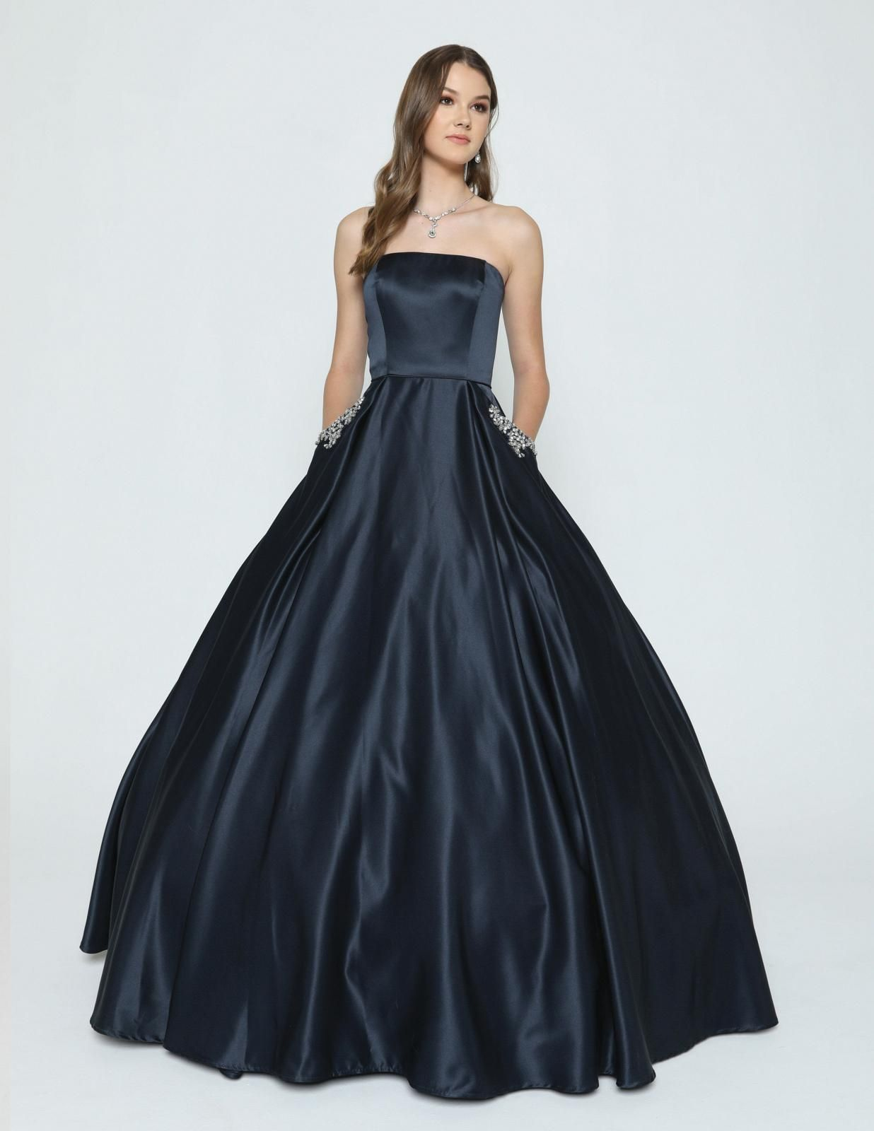 Navy Blue Strapless Prom Gown With Beaded Pockets Prom Gown Ball Gowns Prom Ball Gowns [ 1600 x 1236 Pixel ]