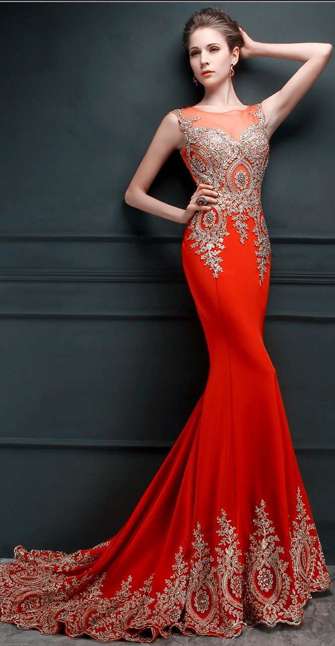 Gorgeous lace applique mermaid evening gowns sheer tulle embroidery
