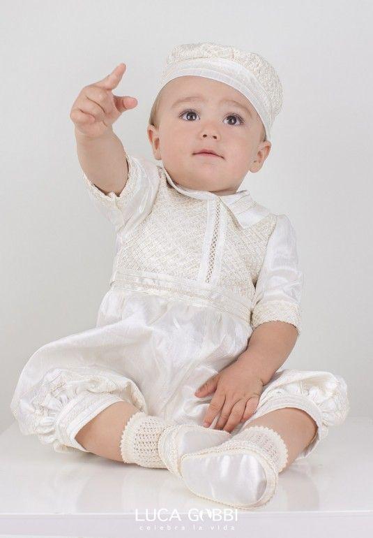 Hermoso trajecito de bautizo para niño confeccionado en shantung en ...