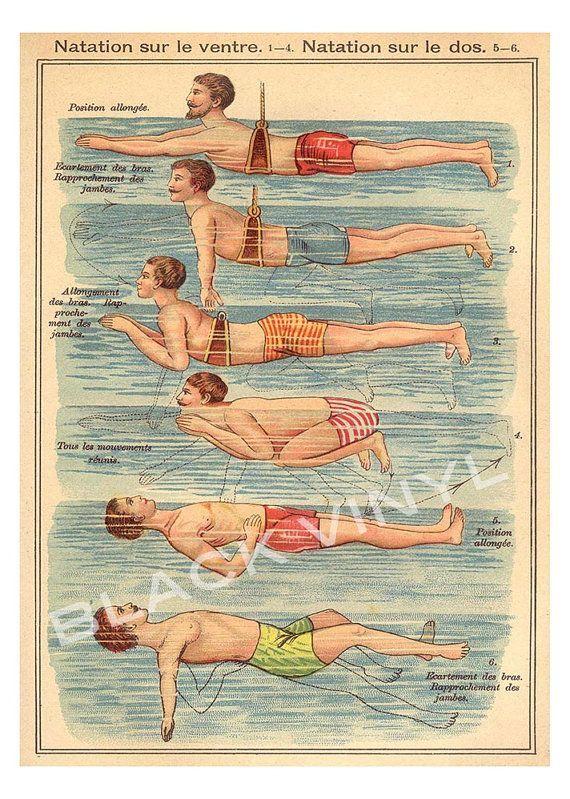 Antique Swimming Art Print Poster Vintage Poster F