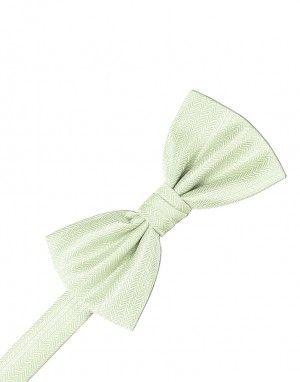 Pistachio Herringbone Bow Tie