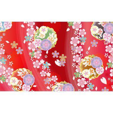 着物和風桜柄正面鮮やか赤系ver背景イラスト無料フリー素材の