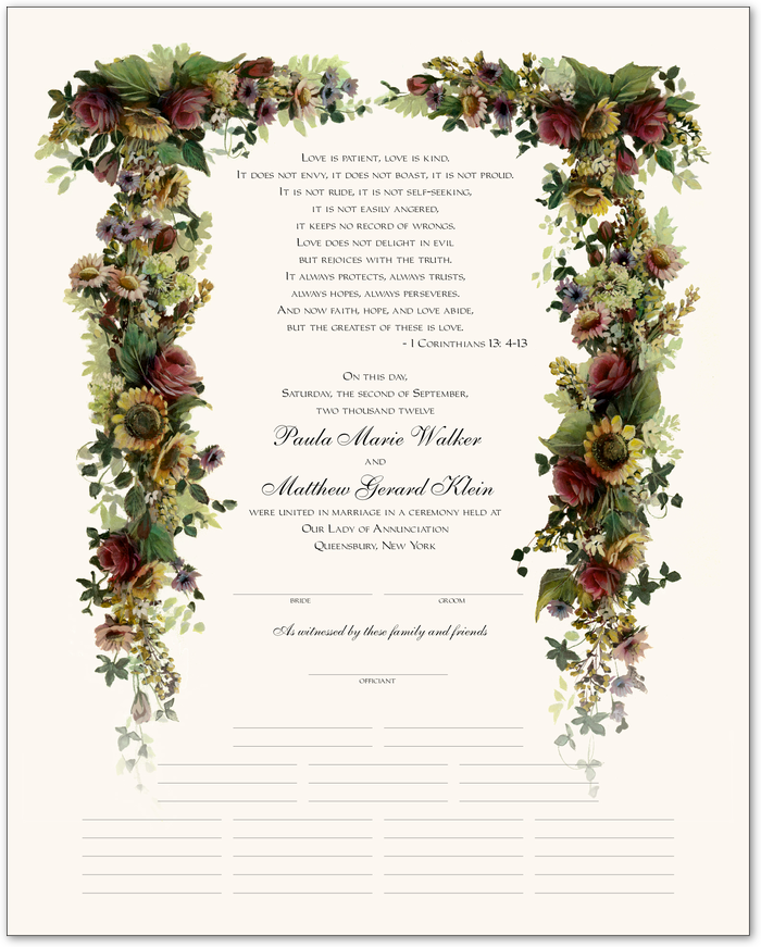 for guest book use a fancy marriage certificate
