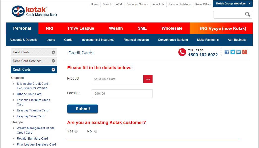 kotak bank credit card status by sms