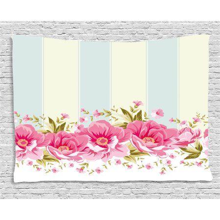 Vintage Tapestry, Pink Peony Border on Vertical Striped Tile Bridal ...