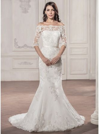 Trumpet/Mermaid Off-the-Shoulder Court Train Lace Wedding Dress ...