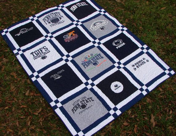 T-shirt Quilt Blanket Throw Double Sashing Penn State Custom order ... : order t shirt quilt - Adamdwight.com