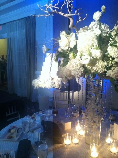 Centerpiece, table setting for light blue, white & silver wedding ...