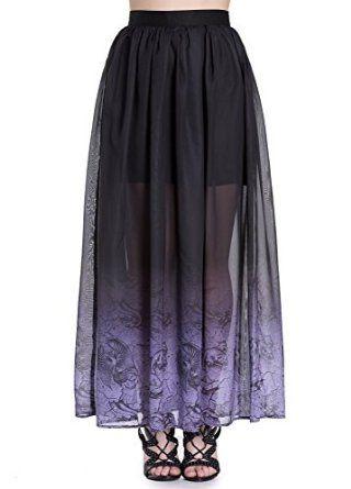 Spin Doctor Evadine Gothic Maxi Plus Skirt Black Purple Gradient XXL: Amazon.co.uk: Clothing
