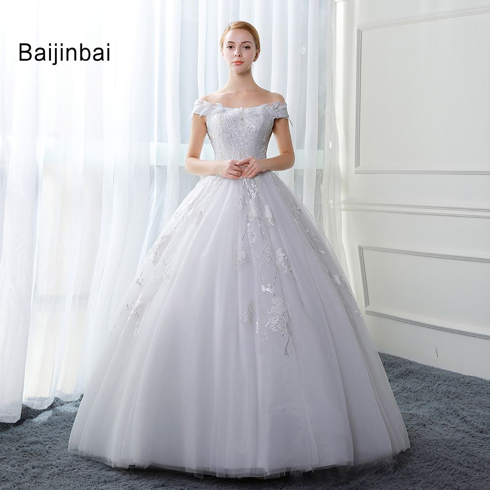 Baijinbai Robe De Mariage Luxury Crystals White Wedding Dresses ...
