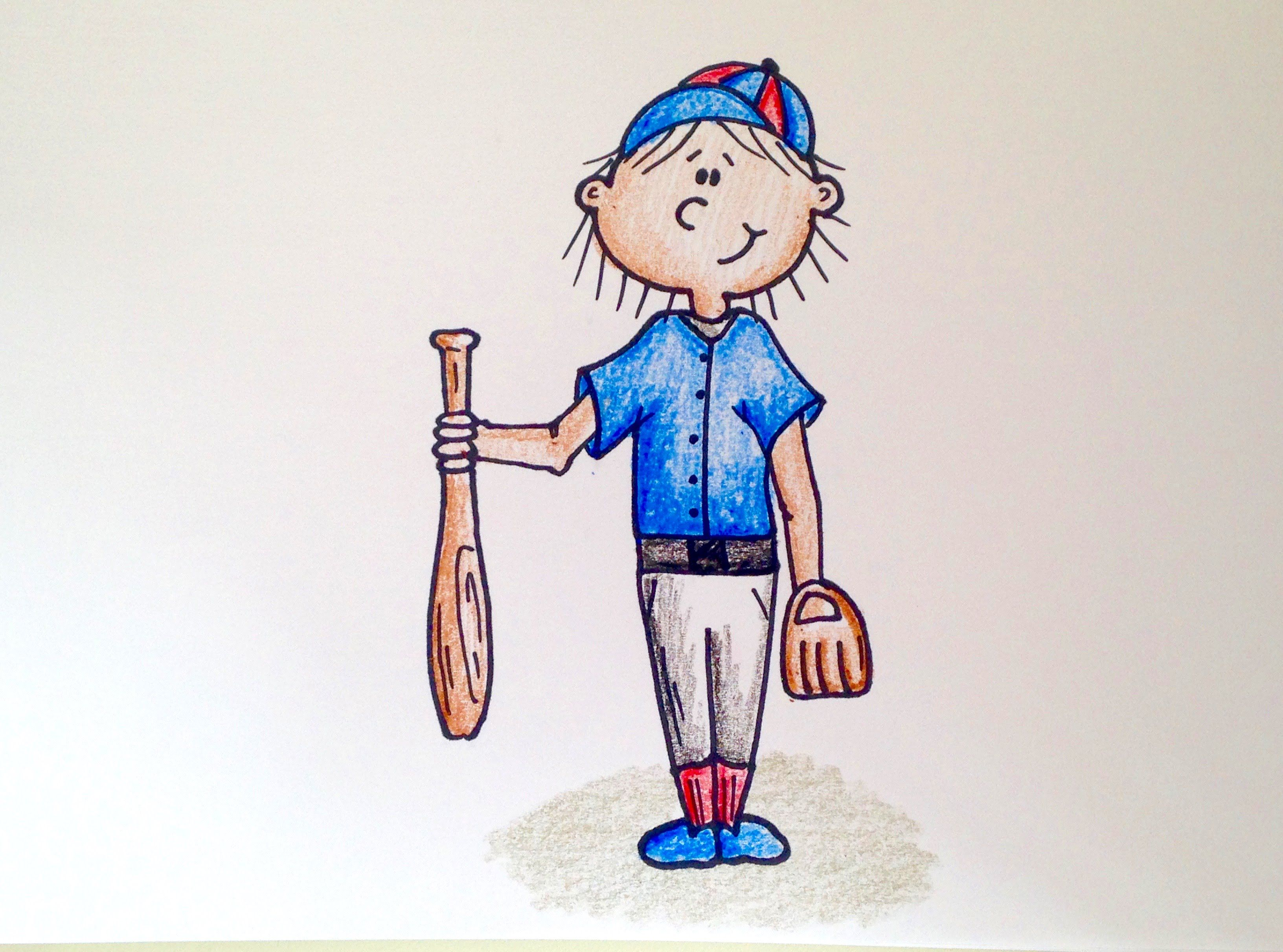 Drawing Lesson For Kids How To Draw A Baseball Player Drawing Lessons For Kids Drawing Lessons Drawings