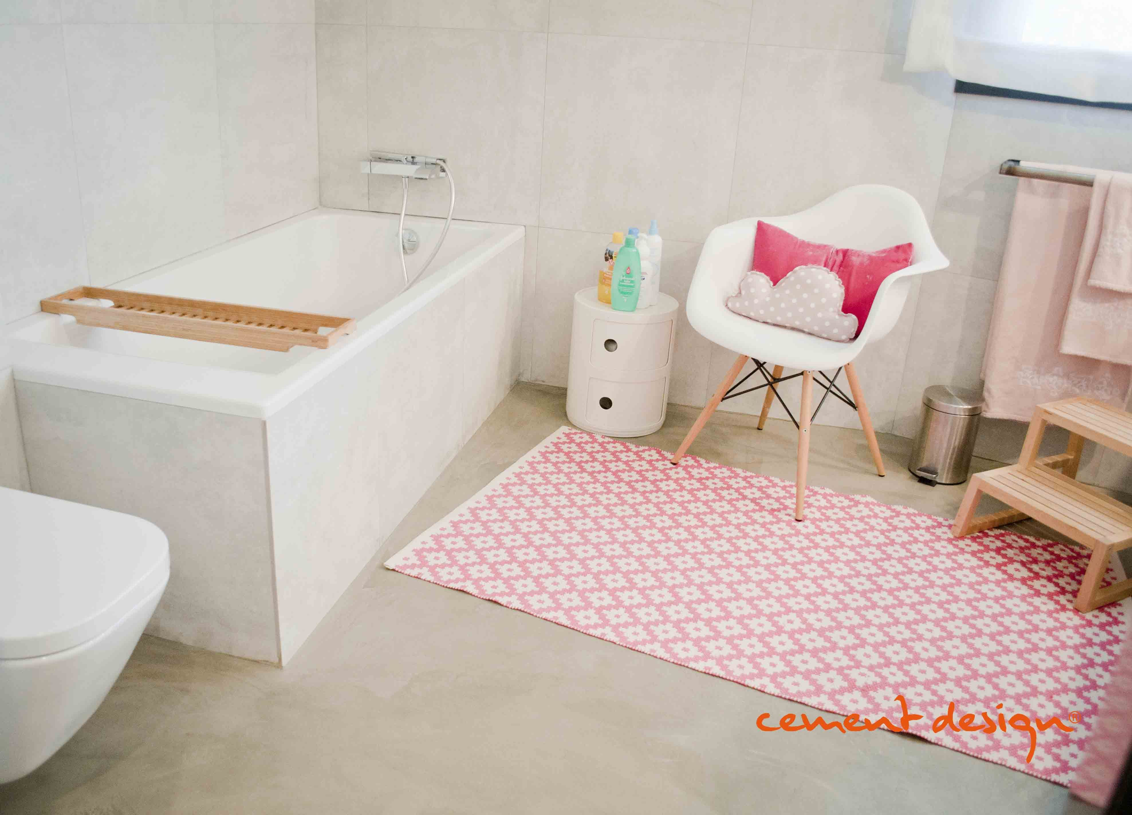 Children #bathroom Cement Design #coverings #Pink. Cuarto de ...