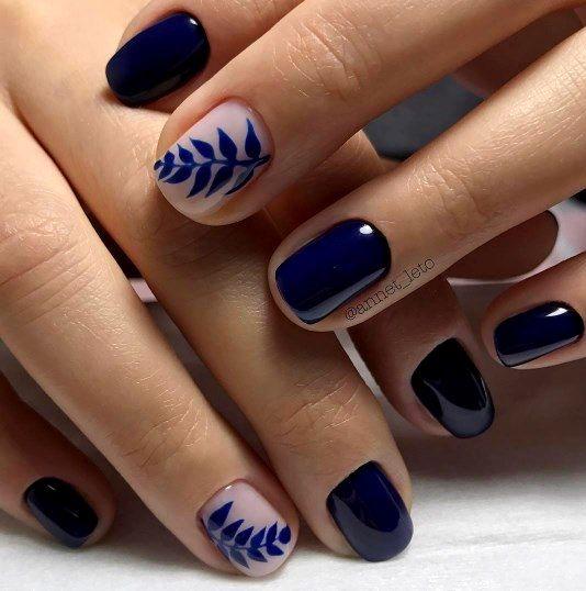 Uñas azul oscuro | Manicuras in 2019 | Decoracion de uñas ...