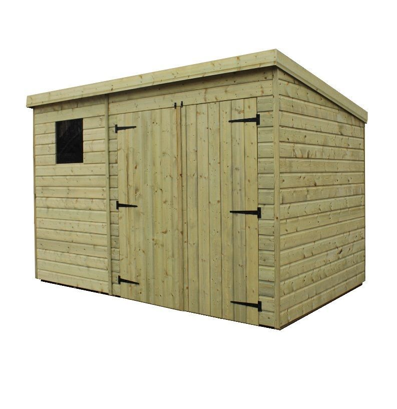 Pent Garden Shed 10x4 Pressure Treated T G Double Door Right 1 Window 5060659535839 Ebay Wooden Sheds Shed Shiplap Cladding