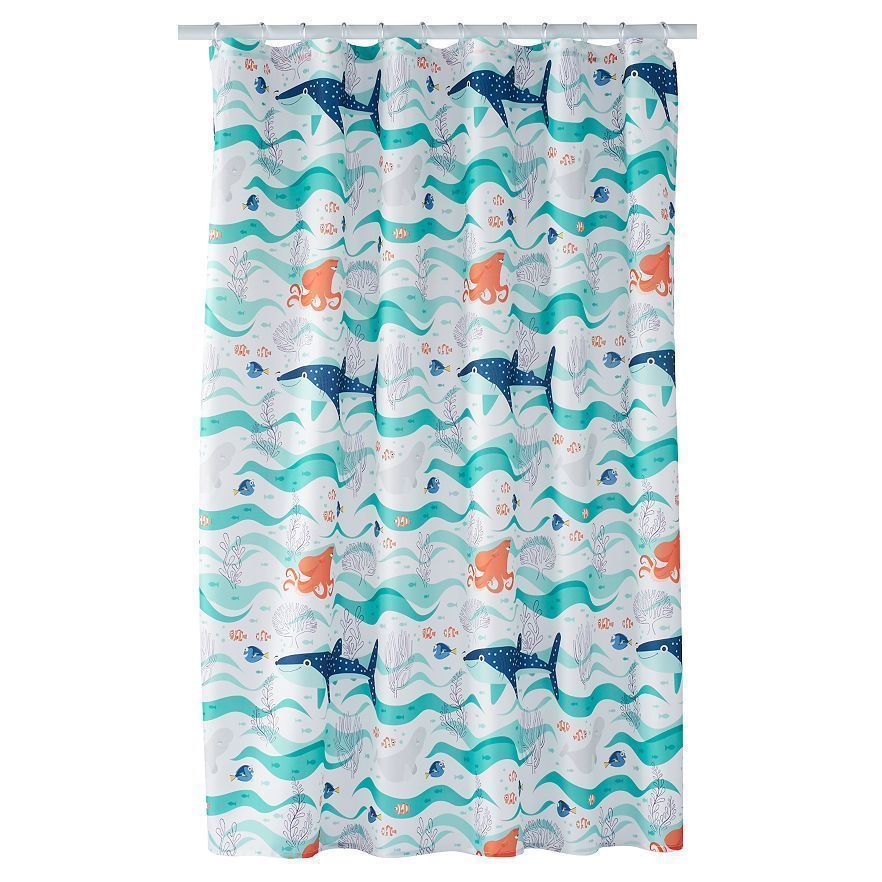 Disney Finding Dory Shower Curtain With Fish Hooks Octopus Nautical Kids Novelty