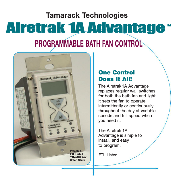 Airetrak A Advantage Programmable Bath Fan Control Is Simple To - Easy install bathroom fan