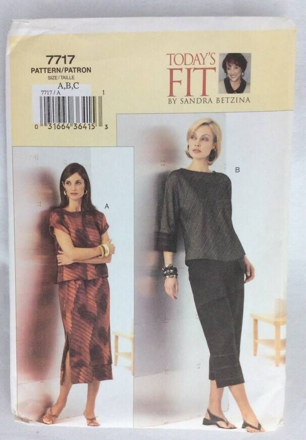 Today's Fit Vogue Sewing Pattern Uncut 2003 Top Pants Skirt Easy Bust 32-36 N13