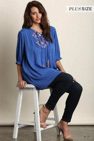 Plus Size 3/4 Sleeve Embroidered Tunic in Blue, , 3/4 SLEEVES TOP, UMGEE, Elohai Plus Size Boutique - 1