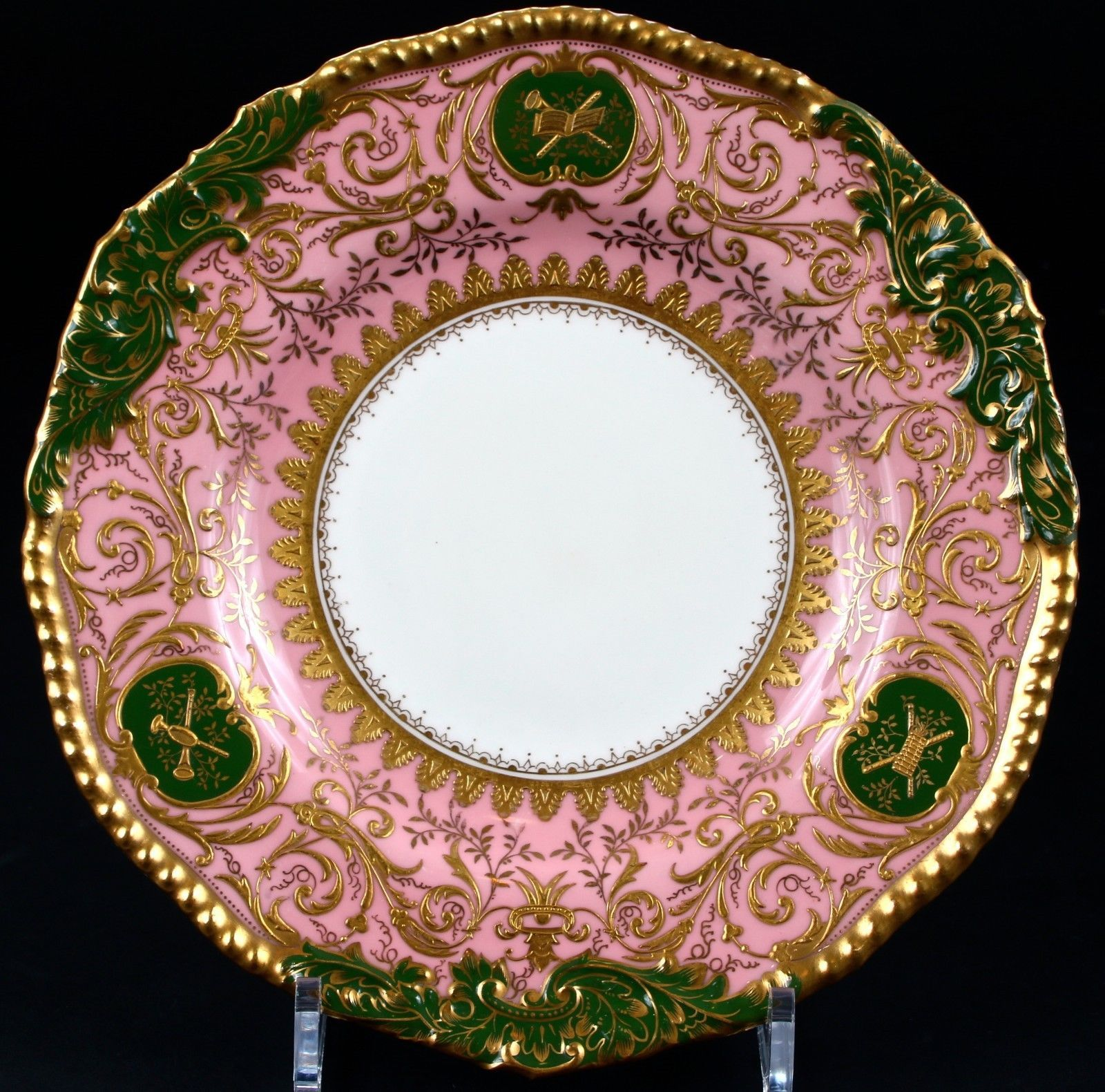 6 Coalport Pink and Green Heavily Gilded Plates: gold encrusted