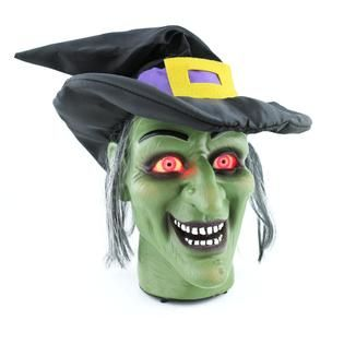 totally ghoul light up and talking witch head halloween decoration kmart - Kmart Halloween Decorations
