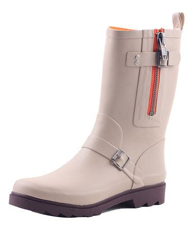Take a look at this Beige Classic Short Rain Boot by Lebunny Bleu on #zulily today!