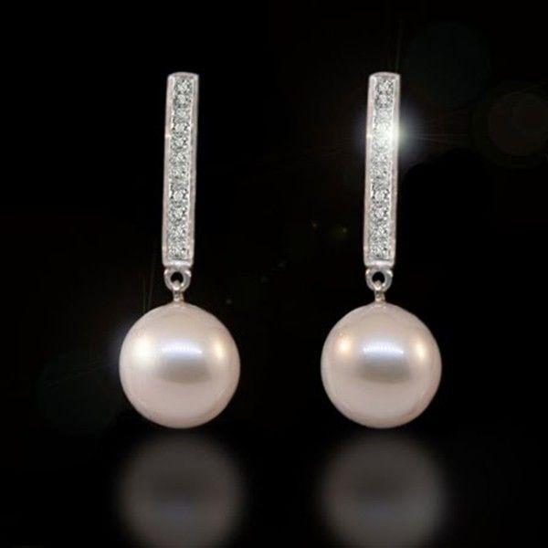 62b36d2f190a Pendientes para la novia  Brillantes y perlas.