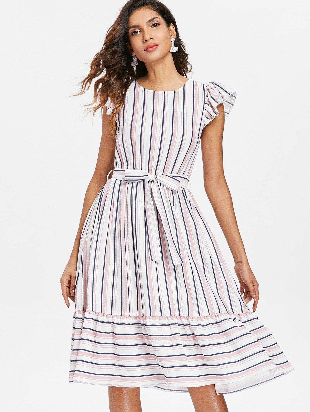 Striped Casual Flounce Dress Multi Sponsored Casual Striped Flounce Multi Dress A Casual Frocks Casual Summer Dresses Knee Length Flounced Dress [ 1596 x 1200 Pixel ]