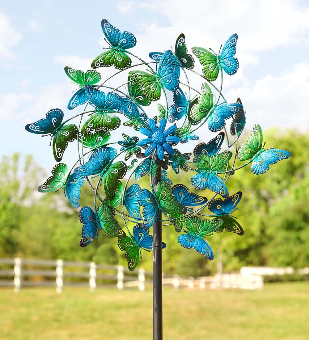 Spinning garden decorations - Blue And Green Butterflies Metal Wind Spinner