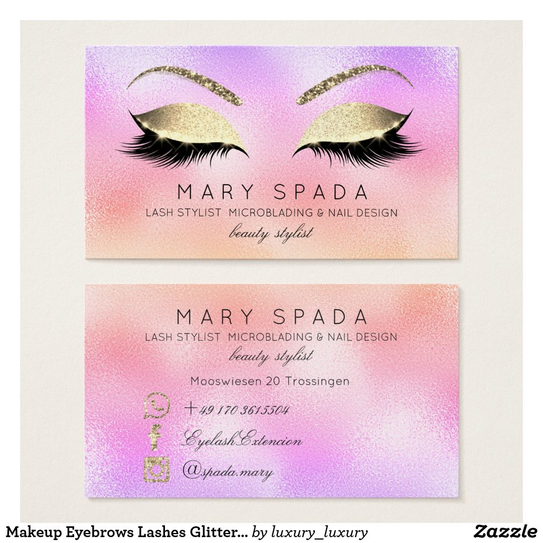 3a2a1686f34 Makeup Eyebrows Lashes Glitter Diamond Gold Pink Business Card ...
