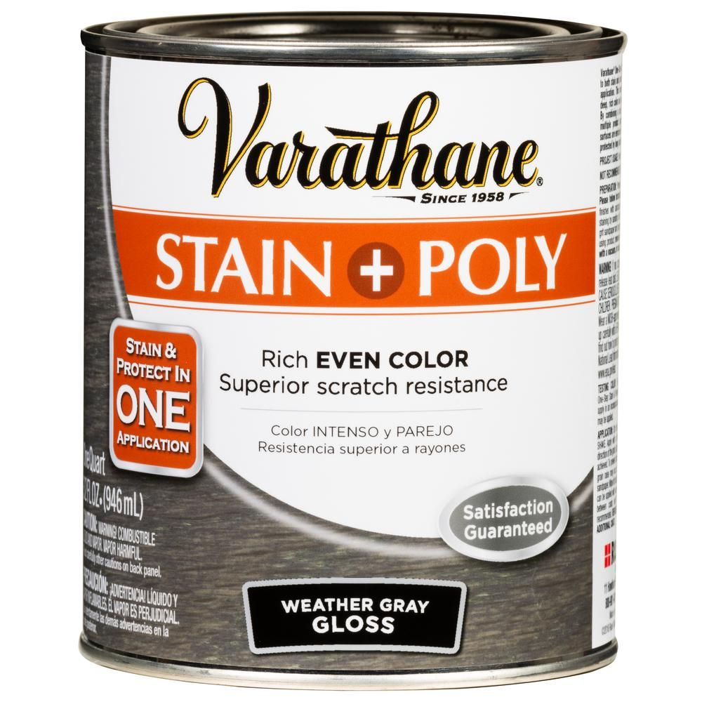 Varathane 1 Qt Weathered Gray 450 Gloss Oil Based Interior Stain And Polyurethane 2 Pack 349571 The Home Depot Varathane Stain Staining Wood Gel Stain