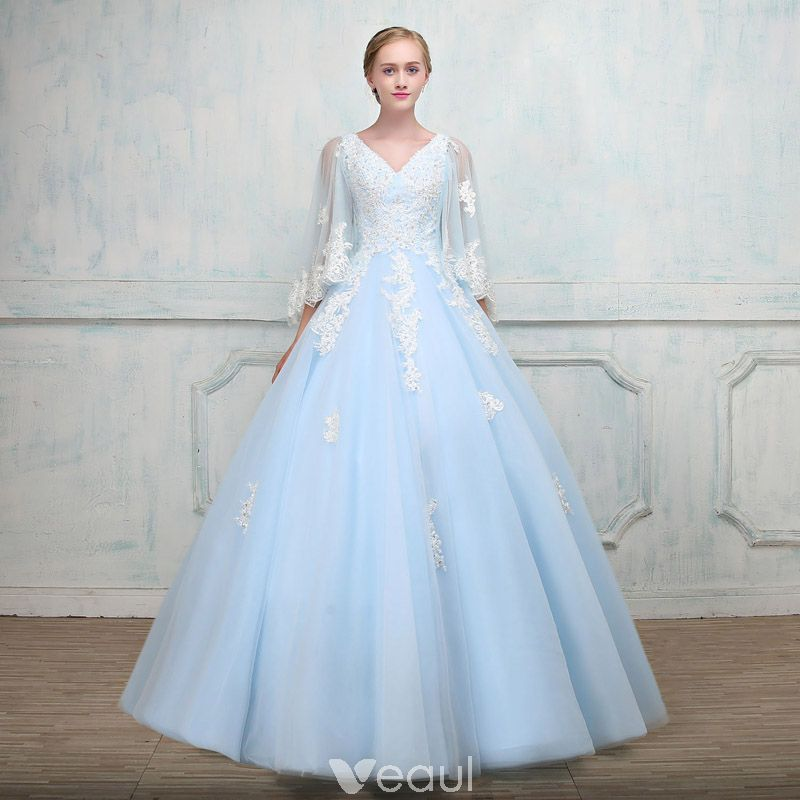 6df6f464c93 Chic   Beautiful Sky Blue Prom Dresses With Shawl 2018 Ball Gown V-Neck  Appliques Lace Beading Floor-Length   Long Ruffle Backless Formal Dresses