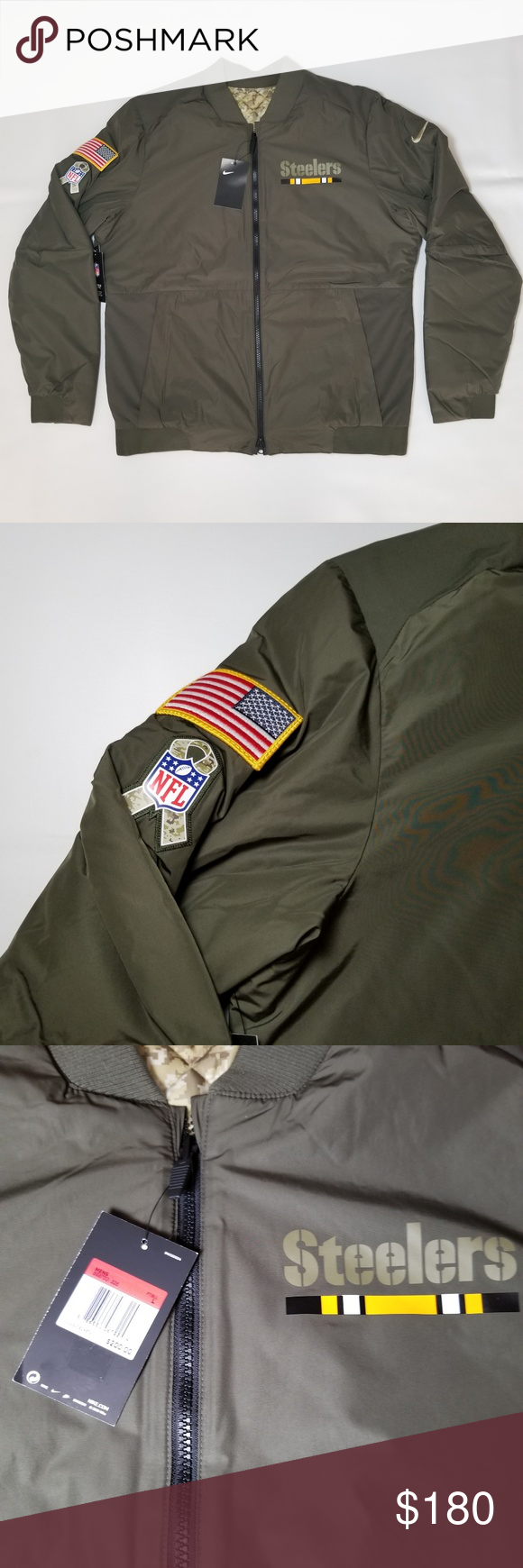 fbe15b0d43f Pittsburgh Steelers Nike Men's Bomber Jacket SZ L Pittsburgh Steelers Nike Men's  Salute To Service Bomber Jacket Reversible Two-Sided Jacket!