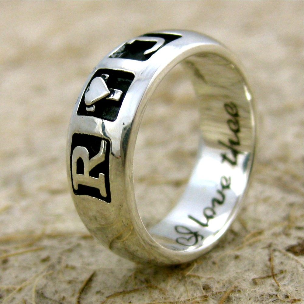 Unique Custom Made Romeo and Juliet Wedding or Commitment Ring in Sterling Silver with uI love