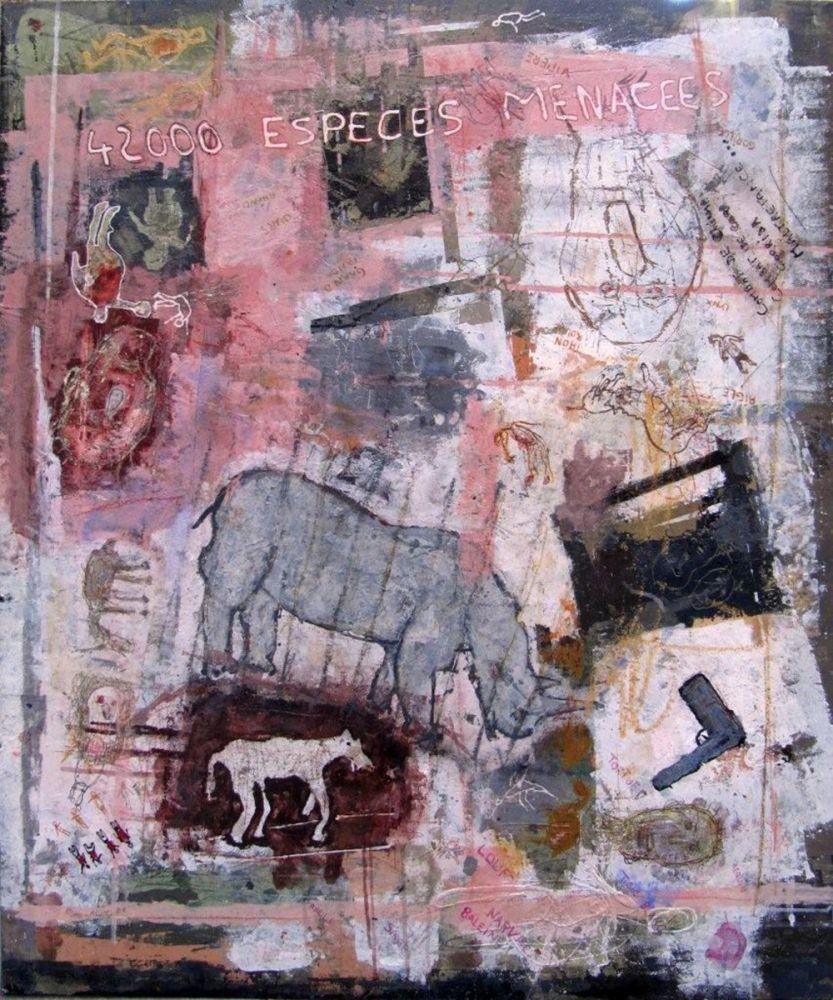 Pierre-Alex. - 42 000 espèces menacées - Technique mixte sur bois et sous résine - 120 x 100 cm - 2009 - Galerie W - Galerie d'Art contemporain à Paris #galeriew #gallery #w #gallery w #pierre-alex. @galeriew