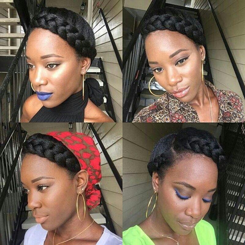 Halo Braid Natural Hair Natural hair updo Natural hair styles Teenage hairstyles